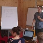 Lukas Reichl von der TU Dresden lässt die Teilnehmer bewusst an verzwickten Fun- und Wissensfragen scheitern. Das gemeinsame Spiel lockert auf und stärkt den Gemeinschaftssinn für den Rest des Tages.